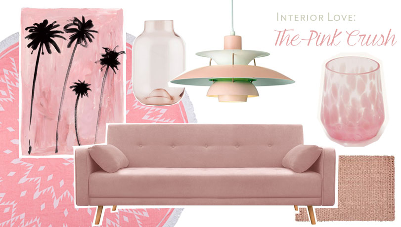 collage pink interior, rosa sofa, mazama glassware