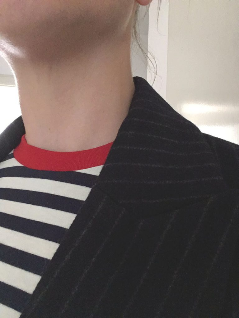 pinstripe blazer with striped shirt, & other stories