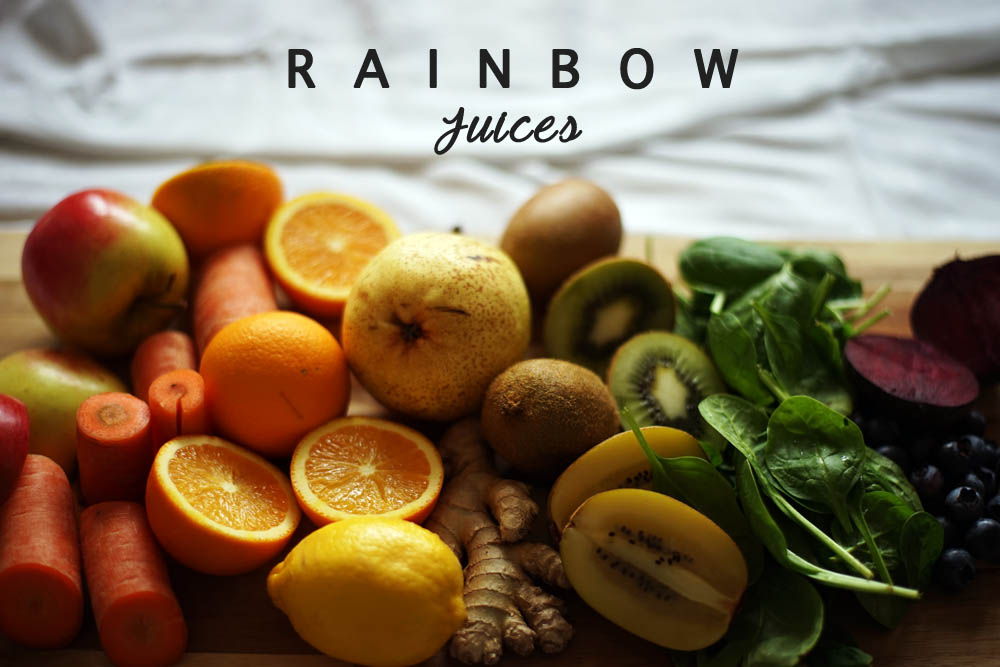 rainbow juices, regenbogen vitamine, ausgewogene ernährung, obst und gemüse