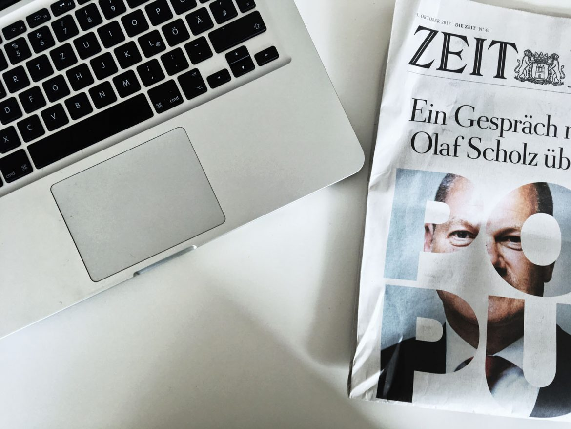 MacBook Pro, Zeit Hamburg, Olaf Scholz Interview